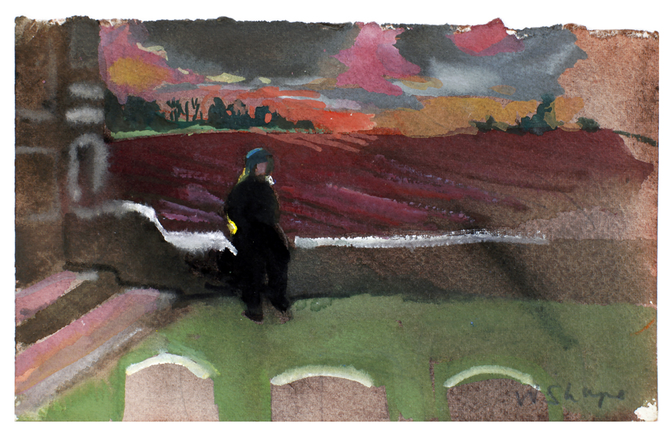 Western Front Graveyard with Fields 11x18cm gouache on stonehenge paper