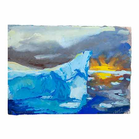 Gouache 2014. On the subject of colour, some of the most astonishing things I have ever seen were jade icebergs. They look like a 1960's blown glass objects or boiled lollies bright blue and almost transparent like icecubes from the fridge.