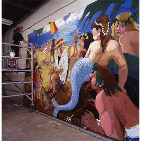 The set of 8 huge murals portray the career of Annette Kellerman. Photograph Joseph Lafferty.