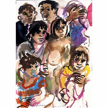 Children in Suai 2000, Gouache and pencil, overall: 34.8cm x 25cm, Australian War Memorial ART91125