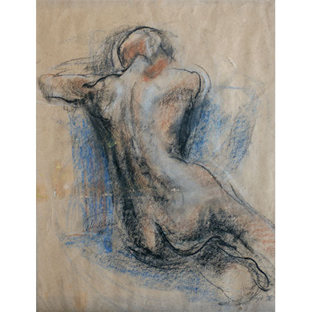 Life Drawing 1978 as a first year student at Seaforth TAFE, Pastel on grey paper 49cm x 39cm