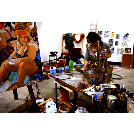 Sharpe working in her studio 2002
