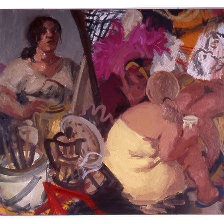 Self Portrait with Models and Coffee Pot 2004 Oil on canvas 122cm x 136cm Private collection