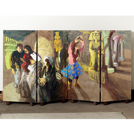 Double sided 4 panel screen - Side 2 Egyptian Temple 2008 Oil on linen 166cm x 320cm