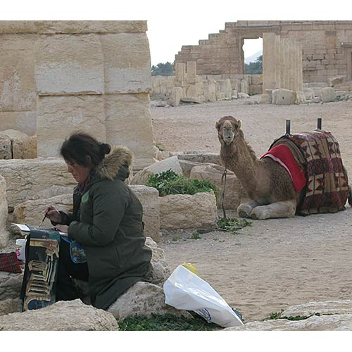 Wendy and camel - Palmyria, Syria 2009