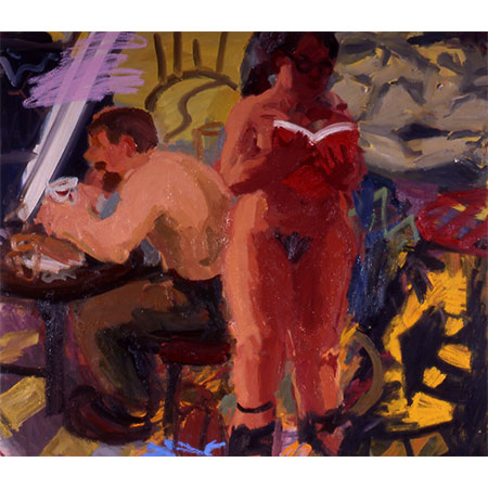 Man Eating Woman Reading 2005 Oil on linen 153cm x 166cm