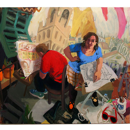 Self Portrait in Florence with Bernard Ollis 2009 Oil on canvas 180cm x 200cm