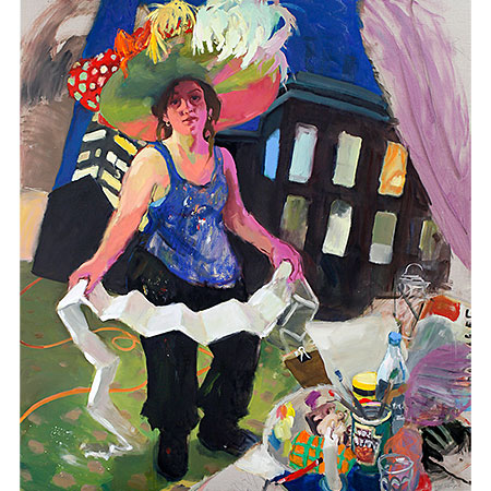 Self Portrait with a Ridiculous Hat 2014 Oil on linen 167cm x 152cm