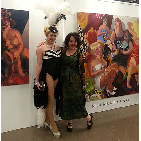 Exhibition Truth or Dare, Sharpe poses with drag queen (Vogue Magazine). Muk Muk Fine Art, Alice Springs & Darwin NT.