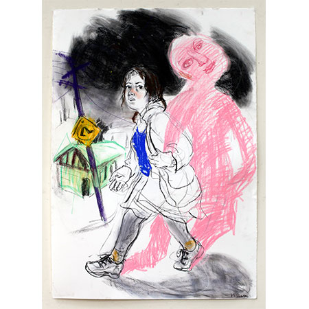 Self Portrait with Imaginary Friend 2014 Pastel 84cm x 59cm (Winner Adelaide Perry Drawing Prize)
