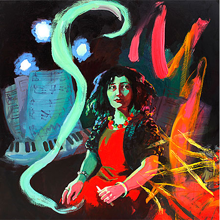 The Witching Hour - Portrait of Elena Kats-Churnin 2017 Oil on canvas 150 x 150cm, Collection of National Portrait Gallery