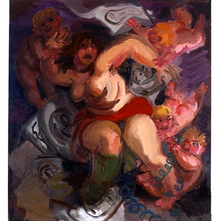 Artist Menaced by Cupids Seated 1994 Oil on canvas 180cm x 180cm Private collection