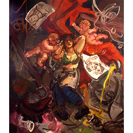 Self Portrait - Artist Menaced by Cupids 1994 Oil on canvas 210cm x 172cm Private collection