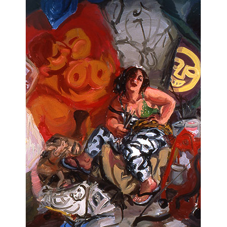 Self Portrait - as Diana of Erskineville 1996 Oil on canvas 201cm x 172cm Private Collection