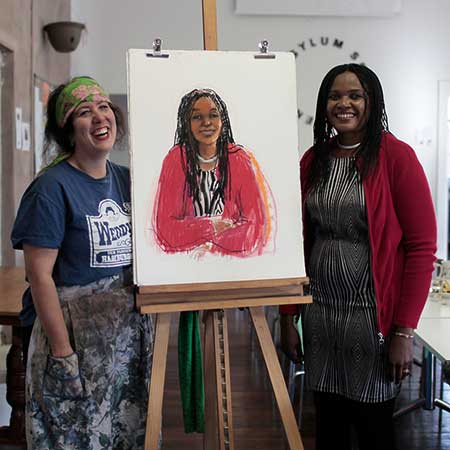 Wendy and Antionette. I gave those asylum seekers and refugees who participated a small signed copy of their portrait to as a personal thank you.